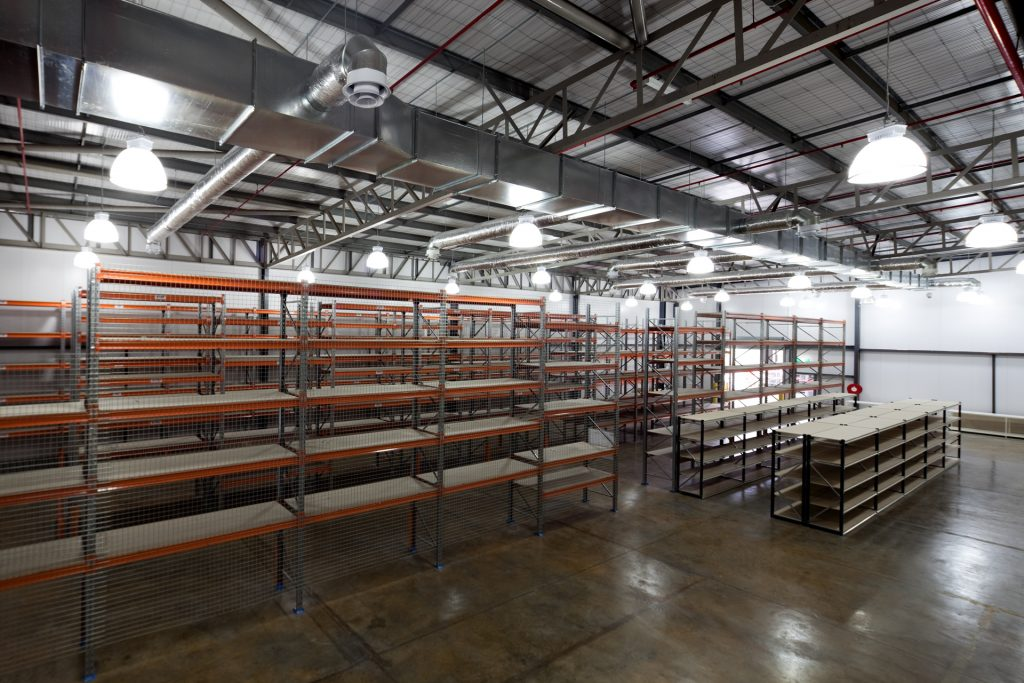 Inner warehouse with polished concrete floors