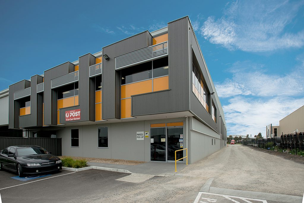 New northern corner of Australia Post Derrimut office with a modern colour scheme