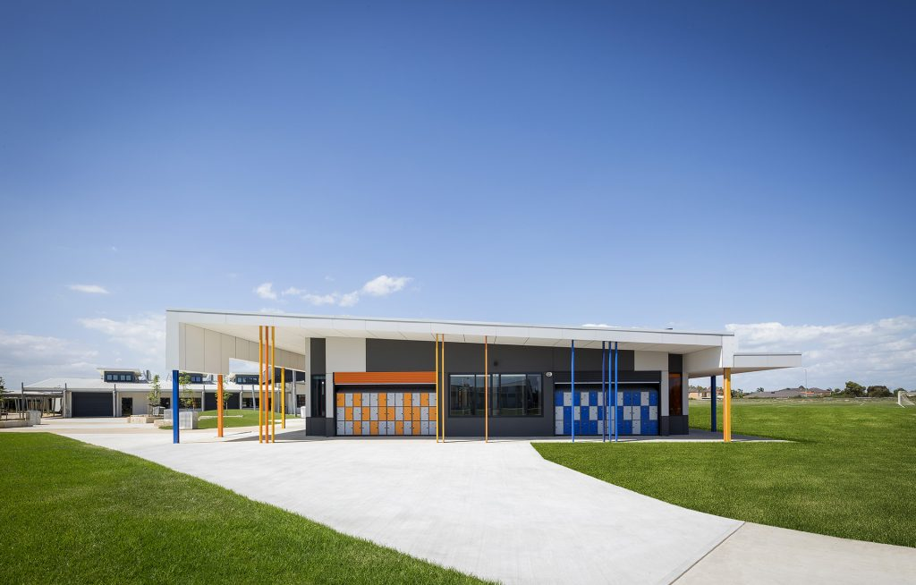 Colourful front of new learning centre on a sunny day