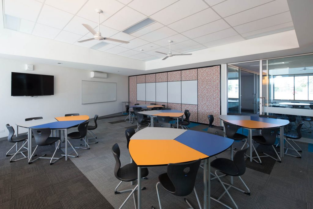 Inside one of the 12 learning centre classrooms fully equiped with television and modern digital whiteboards