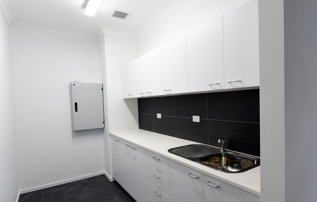 Kitchen area with hot water service
