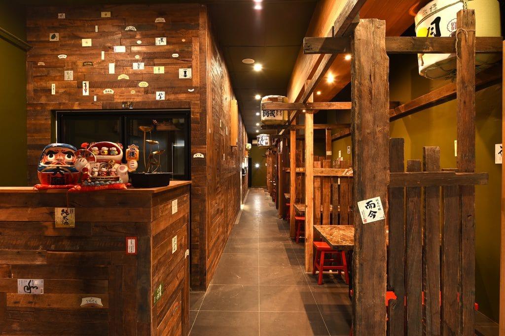 Kaiseki Japanese Restaurant hallway with led hanging lights