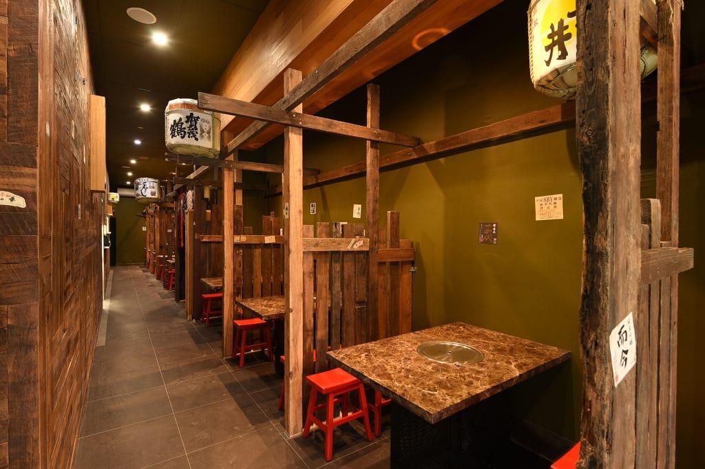 Booth seat of Kaiseki Japanese Restaurant