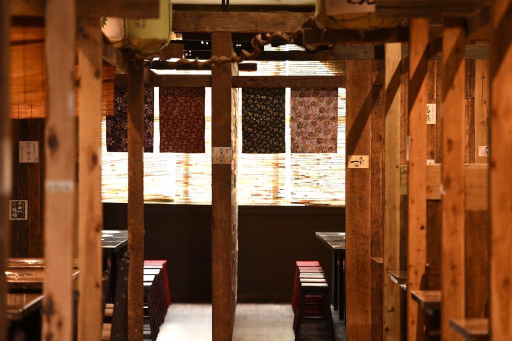 Wooden booths of Kaiseki Japanese Restaurant