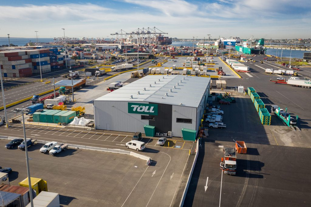 Top view of Toll compound on a busy day