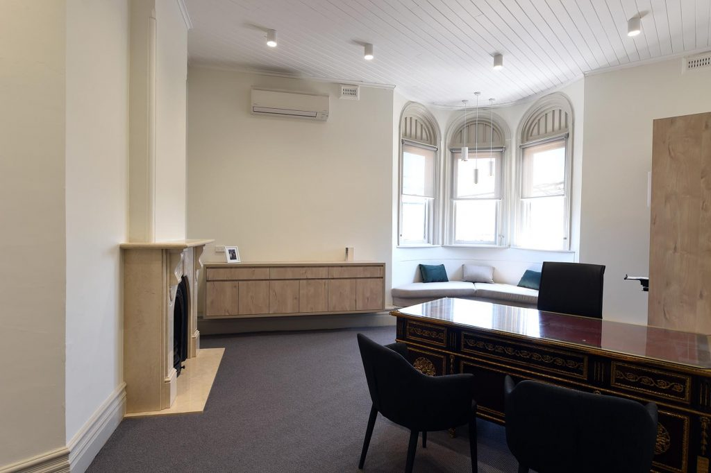 Meeting room with fireplace