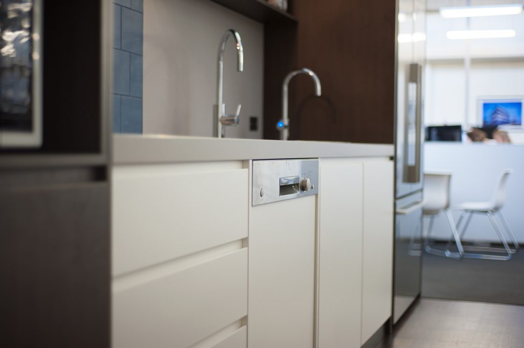 Kitchen sink and wooden joinery drawers