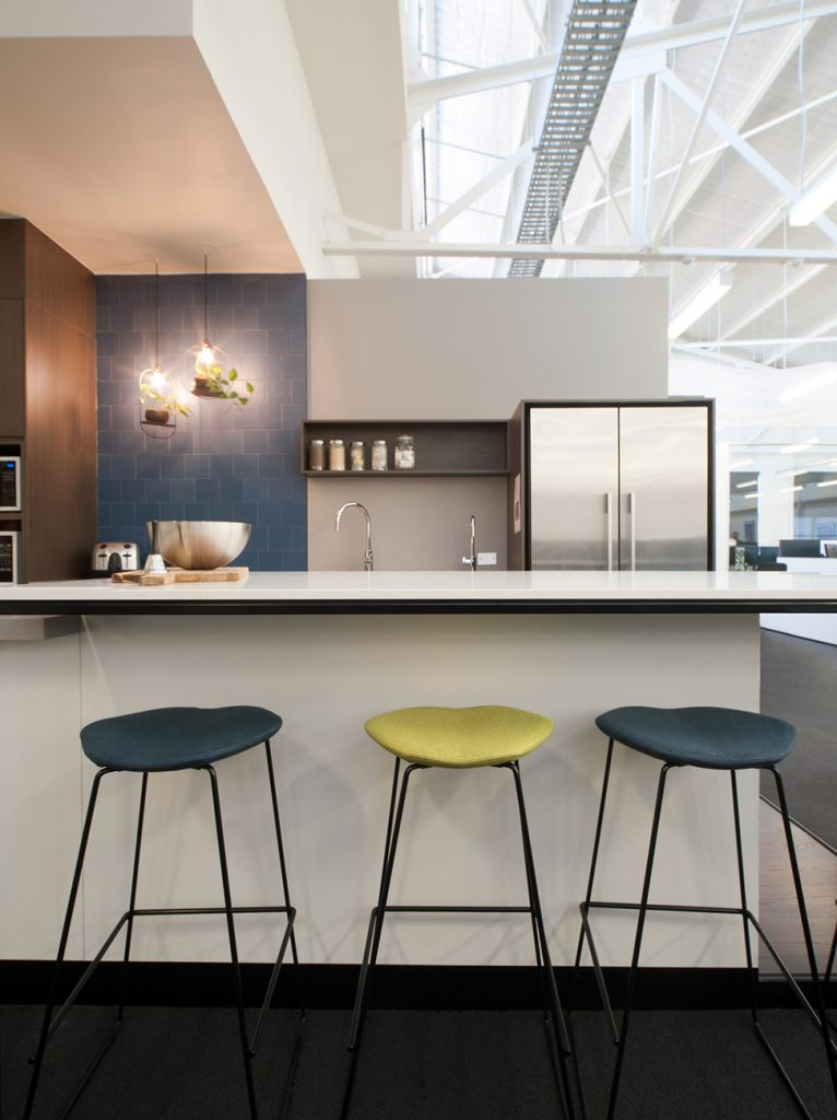 3 kitchen stools flank the recently renovated Watson Young Architects kitchen
